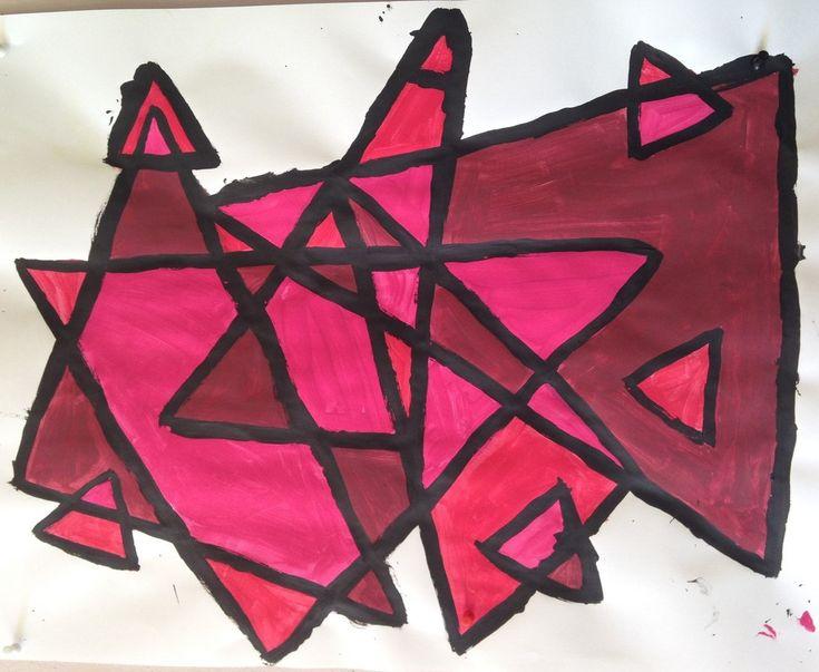 La géométrie dans l'art triangles nuances de rouge Grande Section de maternelle