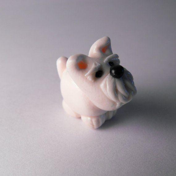 White schnauzer dog polymer clay bead.