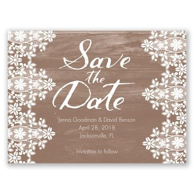 Oak & Lace Save the Date by David's Bridal #davidsbridal #weddings #lace: David Bridal, Bridal Save, Davids Bridal, Invitations Sav, Bridal Davidsbrid, Date Invitations, Db Invitations, Card, Invitations Ideas