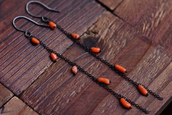 Long Oxidized Silver Coral Earrings  Sterling by JooniJewelry