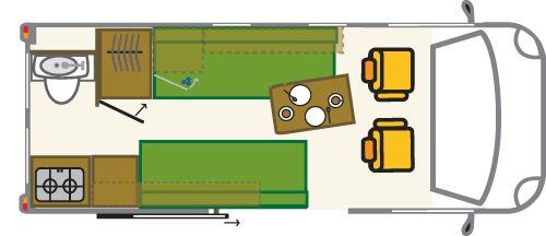 Grundriss für Mercedes Sprinter mit Längsbetten Ausbau