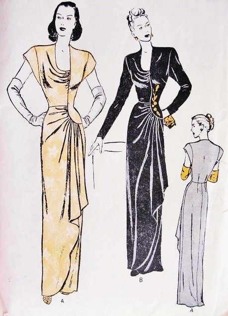 1940s Gorgeous Draped Evening Gown Pattern BUTTERICK 3989 Slim Dress Horseshoe Neckline Curved Seaming Dramatic Side Swept Drapery Film Noir Style Bust 30 Vintage Sewing Pattern