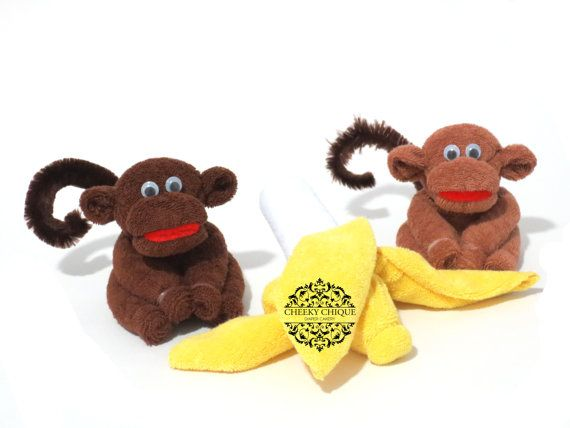 Washcloth Monkeys & Bananas  by Cheeky Chique Baby Diaper Cakery