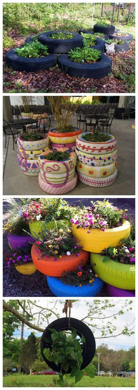 How to make DIY recycled tire flower gardens | DIY Tag