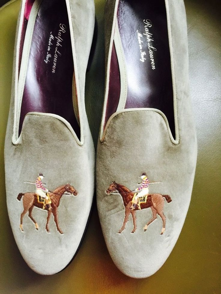 "RALPH LAUREN PURPLE LABEL MENS SIZE 12 D VELVET SLIPPERS ""ELEGANT EQUESTRIAN."" #RalphLauren #SLIPPER"