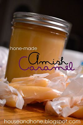 Home-made Amish Caramel -  2 c. white sugar, 2 c. heavy cream, 1 3/4 c. corn syrup, 1 c. butter, 1 tsp. vanilla: Gifts Ideas, Caramel Candy, Caramel Recipe, Homemade Amish, Amish Caramel, Homemade Caramel, Amish Canning Recipe, Amish Desserts, Yummy Treats