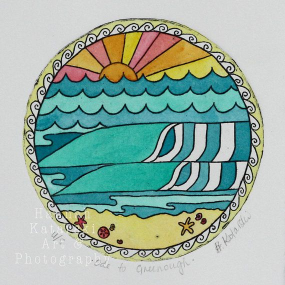 Rainbow retro waves sunset watercolour and etching by MermaidsCoin