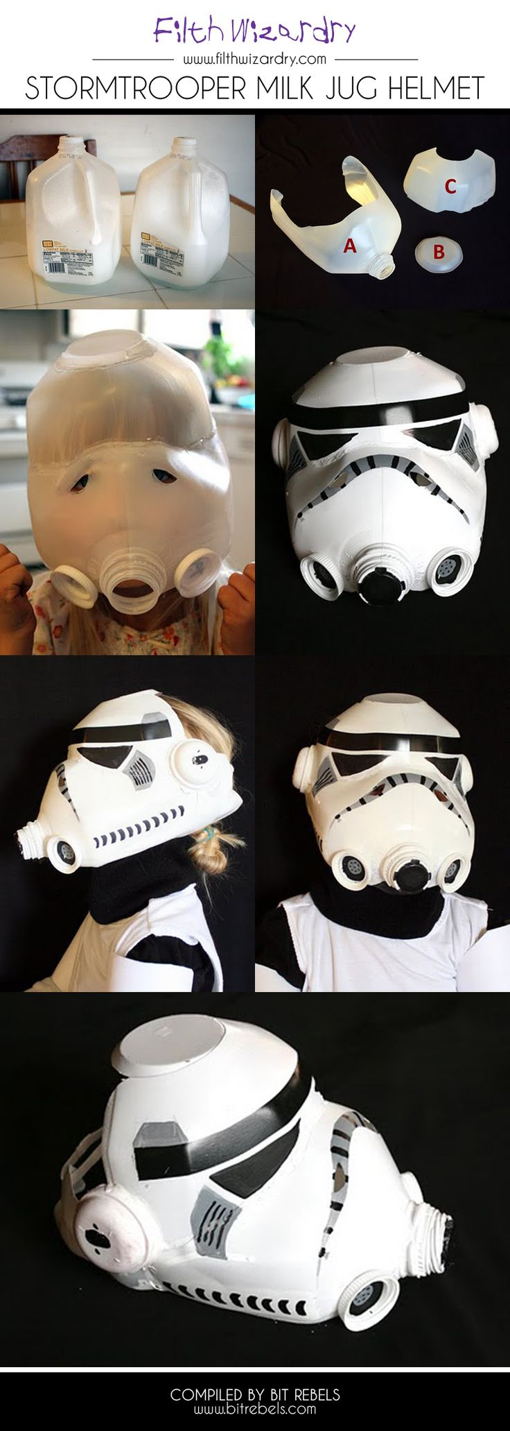 Stormtrooper Helmet Created Entirely Out Of A Milk Jug #upcycle #tutorial