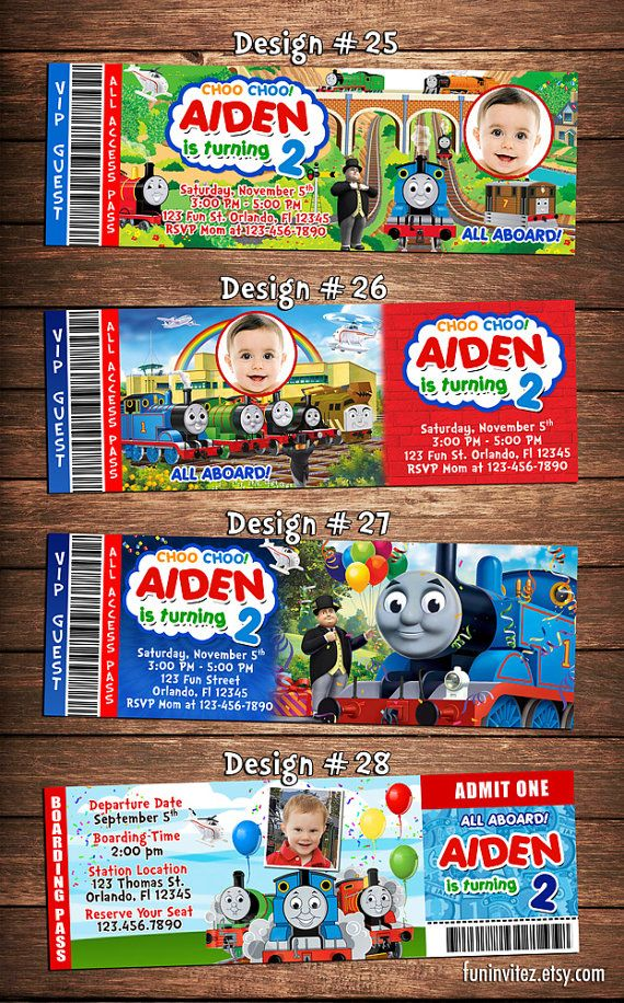 Thomas The Tank And Friends Birthday Party Photo Ticket Invitations Train Two