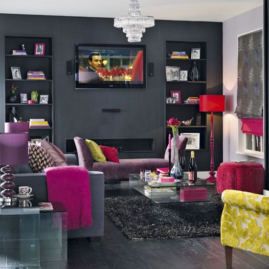 Bold decadence living room with purple, charcoal, read and yellow.
