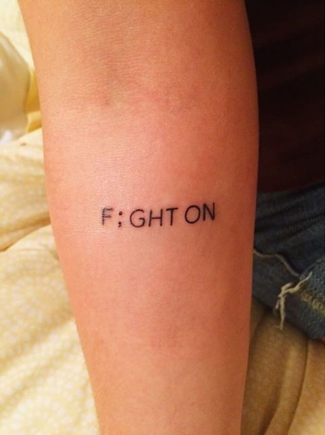 Mental Illness Tattoos : Semicolon Tattoos. Being one who struggles with a mental illness I love the idea of this tattoo