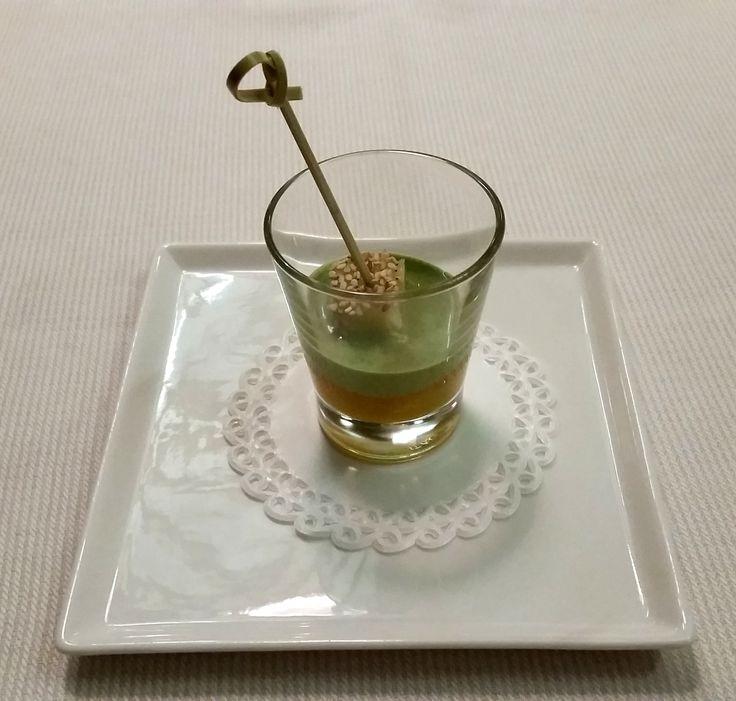 pre dessert: crema di mele cotogne e crema al tè macha con ananas al sesamo  ristorante JOIA Milano