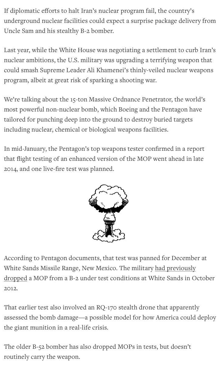 C2 - War is Boring, 24 Jan, 2015: America Upgrades Its Biggest Bomb - Pentagon tweaks the 15-ton Massive Ordnance Penetrator amid Iran talks, by James Drew.
