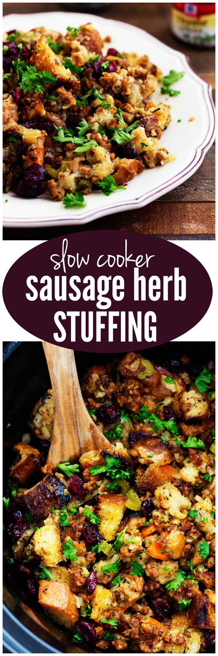 This classic sausage stuffing is flavored with basil, thyme, and sage adding such amazing flavor. Made right in your slow cooker it frees up your oven and makes it easy to transport. It slow cooks to perfection adding crispy edges and will be the best stuffing that you will ever make!