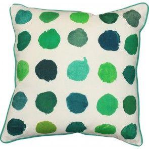 Mulberi Studio Painted Spots - White/Green Cushion - luxury linens