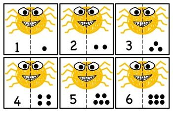 FREEBIE: SPIDER CUT MATCH NUMBERS 1-10 - TeachersPayTeachers.com