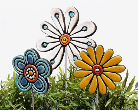 abstract flower garden decor - ceramic lawn ornament - frost resistant garden decoration - turquoise