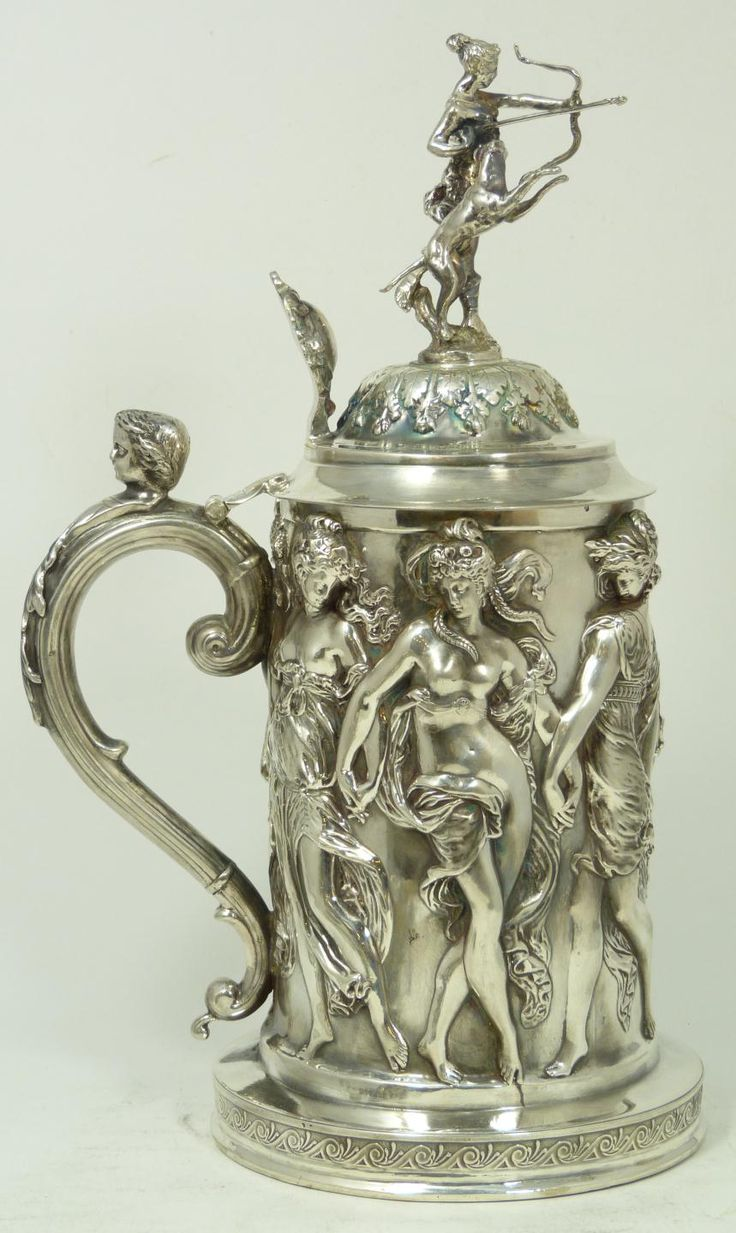 Lid german beer mug hinged lid gaming computer desk ideas - Impressive Emile Puiforcat French Silver Tankard Having A Repousse Design Throughout Body Hinged Cover Has
