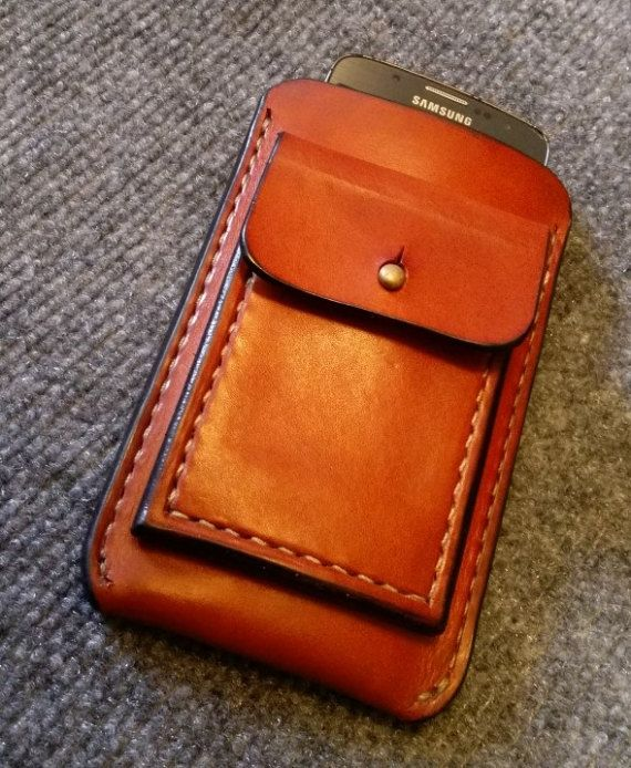 Full Grain Leather Cell Phone Case CLUTCH or Hip by LokeyChrmz