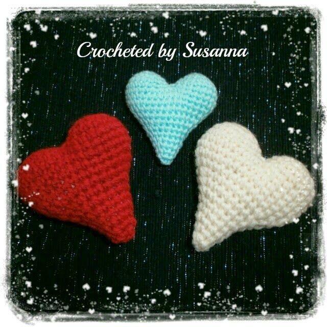 Crochet Hearts - Virkade Hjärtan ♥ Crocheted by Susanna