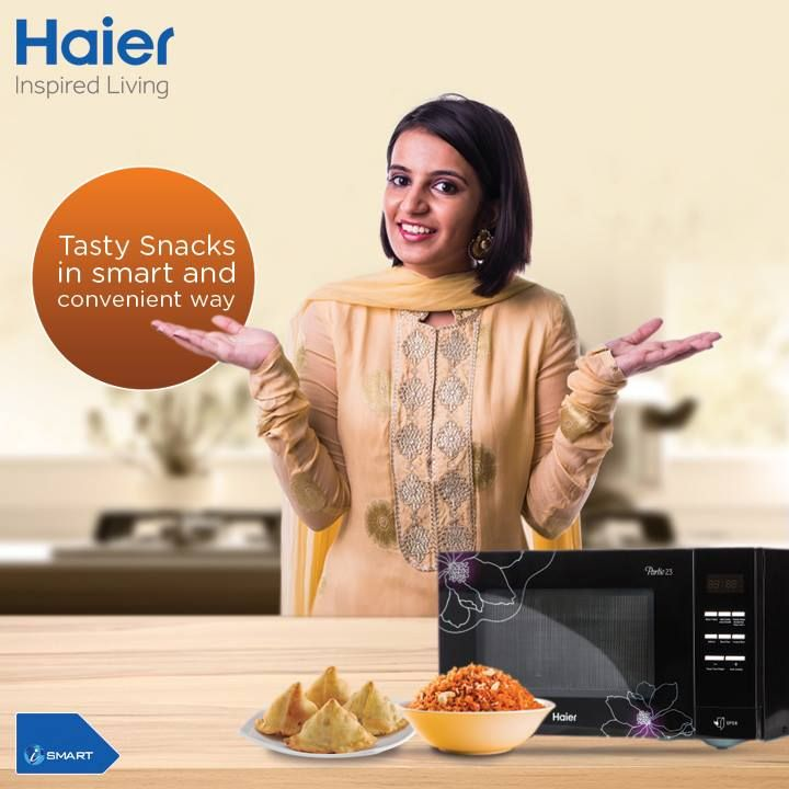 Enjoy Tasty #snacks with #Haier #Microwaves smart cooking features making your life more convenient. #Food #Oven #HaierIndia #Innovation #InspiredLiving #Technology
