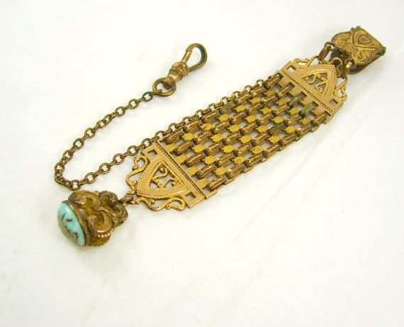 ANtique watch fob turquoise fob fancy watch by vintagesparkles, $125.00