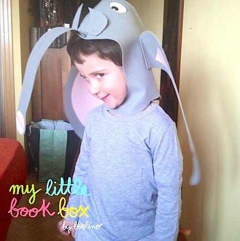 """Iker con el disfraz del libro """"Elefante"""" de Petr Horáček editado por Juventud.  http://www.mylittlebookbox.com/tienda/detalle/elefante/"""