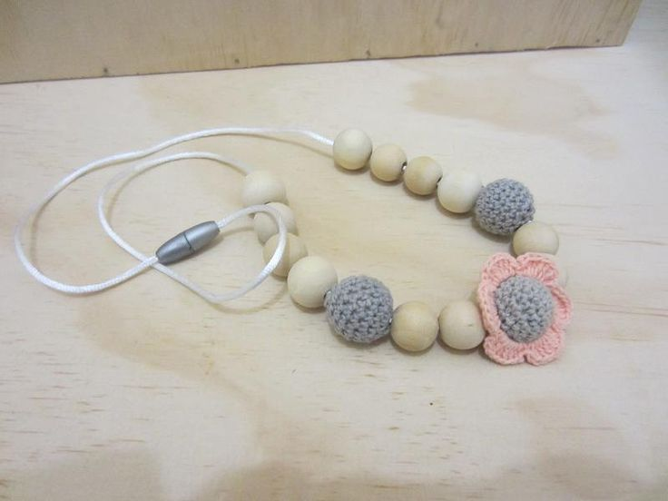 Handmade Crocheted Flower covered bead and wooden bead necklace - choice of…