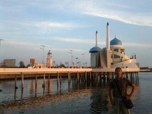 Amirul Mukminin Mosque or Masjid terapung in near of losari beach makassar, build in 2013 and unique architecture.