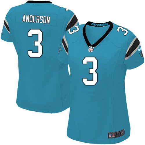 Women Nike Carolina Panthers #3 Derek Anderson Limited Blue Alternate NFL Jersey Sale