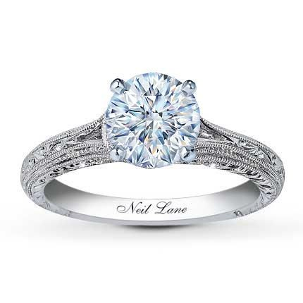 0.34 Carat F-I1 Very Good Cut Round Diamond plus Neil Lane Ring Setting 1/8 ct tw Diamonds 14K White Gold