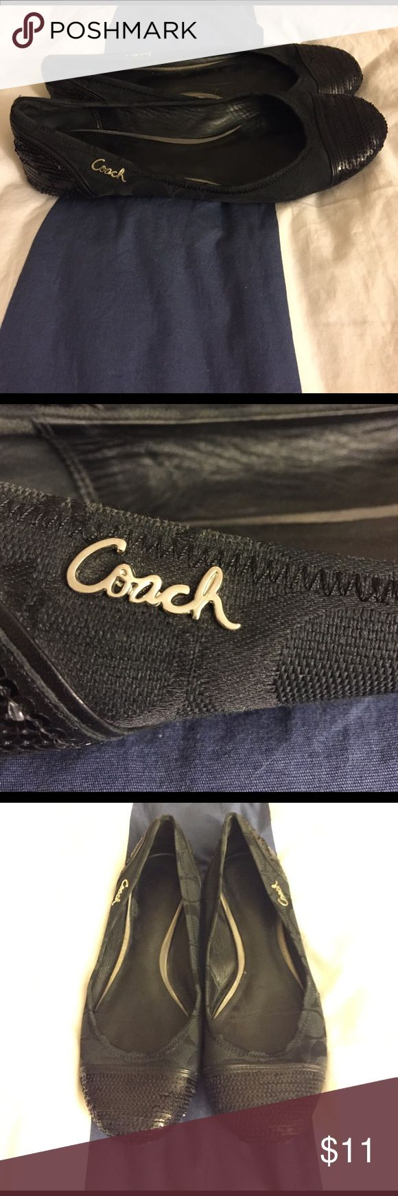 Used Size 9 coach flats. Size 9 coach flats that have been worn. Please see pictures. Black Coach Cs on fabric, metal coach logo and sequins on front and back. Priced accordingly. Coach Shoes Flats & Loafers