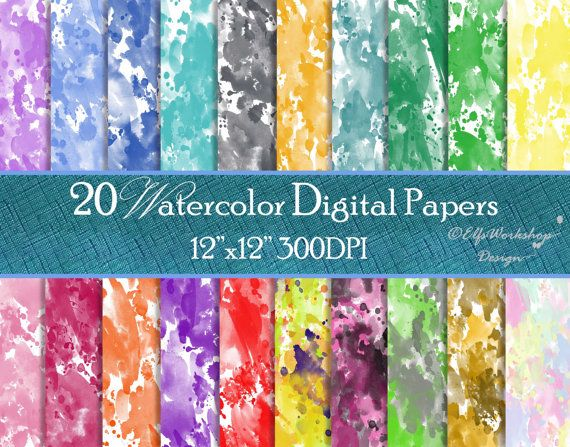 Watercolor Digital Paper (pack of 20) with pastel colors / digital watercolour papers for scrapbooking cards diy invitations