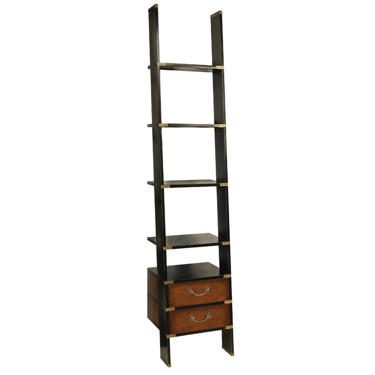 Inadam Furniture - Library Ladder Bookcase Shelving Unit in Black - Authentic Models