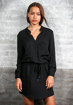 The 'Hailey' #Dress gives you a chic and classic #look, with it's rayon features, pockets on both sides, a drawstring waist and button-down v-neck. Available in Black, Leo- Sapphire and Zick Zack. Pair this with your favorite accessories you have the #perfect look. Now avl. #online at AU$119.90 | #buddhawear #ethicalfashion #womenclothing #autumn16