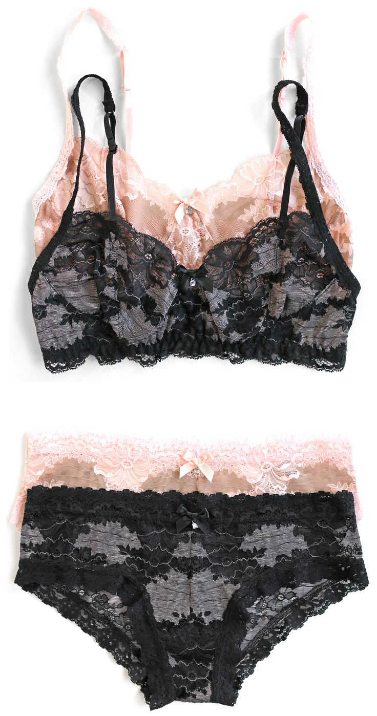 "Hanky Panky ""Truly Decadent"" Lace Bralette and Hipster"