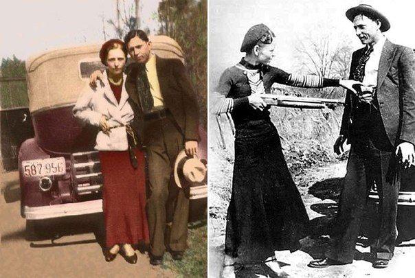 Бонни Паркер и Клайд Бэрроу — известные американские грабители, действовавшие во времена Великой депрессии. Выражение «Бонни и Клайд» стало нарицательным для обозначения занимающихся преступной деятельностью любовников. Их «Ford V8» был расстрелян из засады отрядом из четырёх техасских рейнджеров и двух луизианских офицеров. 167 пуль прошили машину, из них больше 110 попали в бандитов: Бонни — около 60, Клайд — около 50.