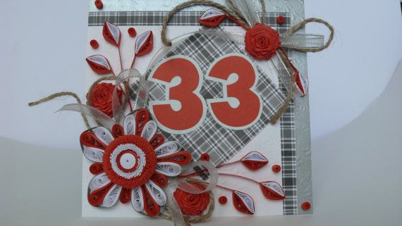 33rd  Birthday Card  Floral 33rd Birthday Card  от Evashop74