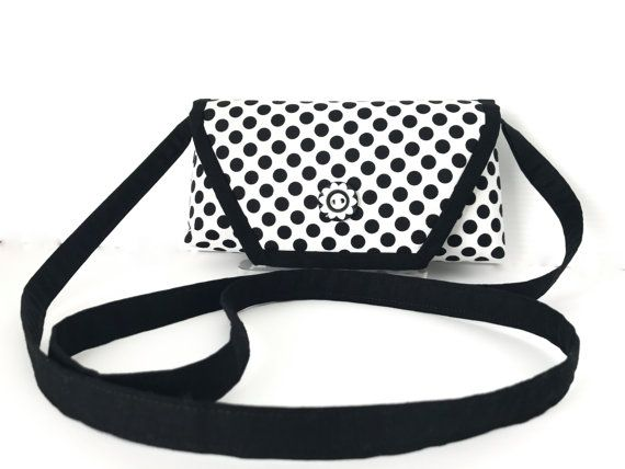 Black Polka Dot Crossbody Bag Smartphone by AddaSplashofColour