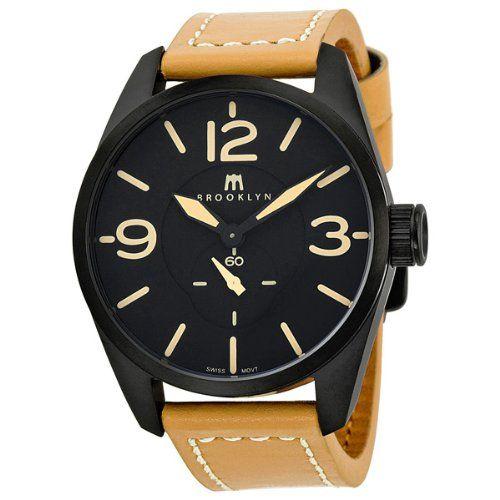 Brooklyn Watch Company Lafayette Black Dial Tan Leather Swiss Quartz Mens Watch CLA-C: Watches: Amazon.com