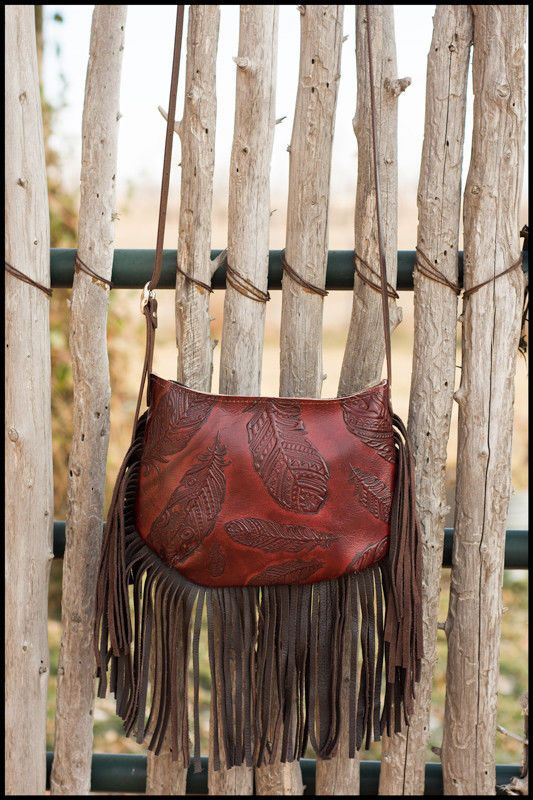 84d93d350 Western Leather RODEO Bag Cross Body Purse w/ Fringe Native Feathers K Bar  J SF1 | eBay