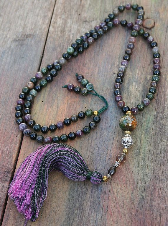 Mala made of 108, 8 mm - 0.315 inch, beautiful tourmaline gemstones. The guru bead and the decorations thereunder consist of faceted agate, a silver-colored bead and cherry - and smokey quartz - look4treasures on Etsy