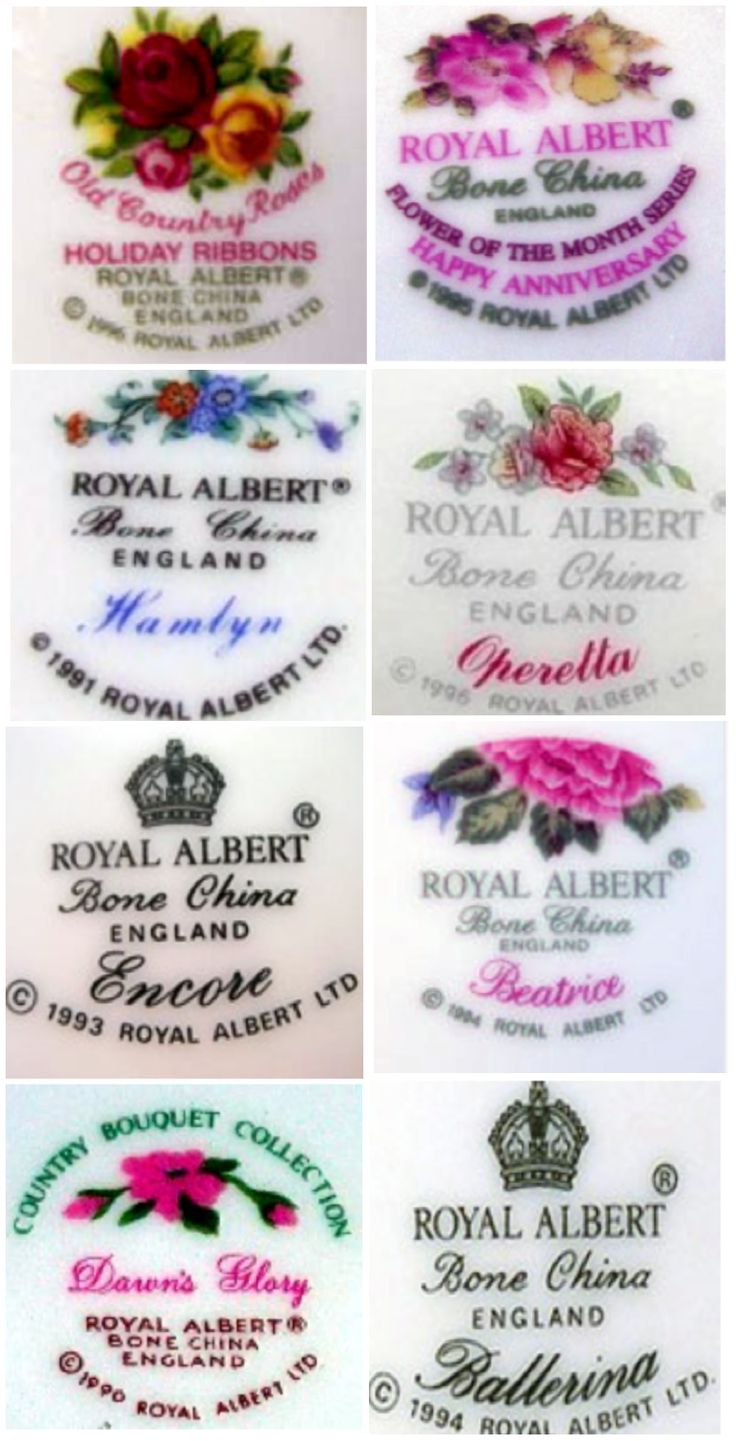 Complete Guide to Royal Albert Back Stamps, courtesy of the Royal Abert Reference Website. Follow rickysturn/fine-china