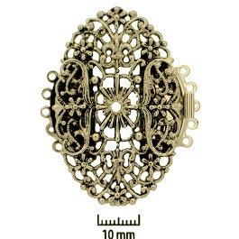 Rhodium Plate, Old Palladium Color, Filigree Oval, Push-Pull Box Clasp, 5-strand, 47x30mm, (1 clasp)    Land of Odds - Jewelry Design Center  www.landofodds.com