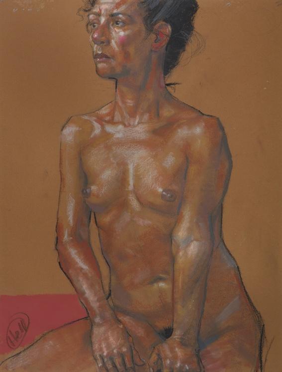 Woman with Stool - Pastel Gras sur Papier - 50 x 65 cm