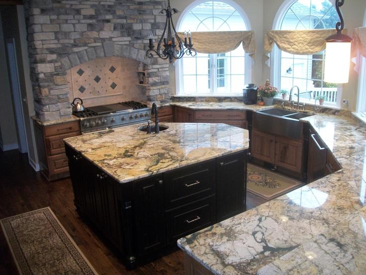 Elegant Granite Countertop Kitchens : Best images about backsplashes on pinterest stove