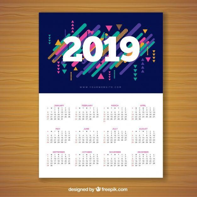 Html Calendario.Calendar For 2019 In Memphis Style Calendar Calendar