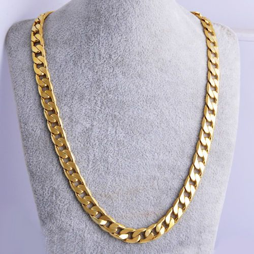 """Yellow Solid Gold Filled Cuban Chain Necklace 24"""" 7mm Thick Men's jewelry Women"""