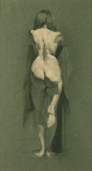 Zack Zdrale, Female Back, Graphite and White Chalk on Blue Toned Paper, 17 x 15 inches, 2008