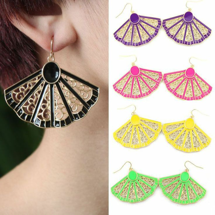 E325 earrings wholesale fashion trends fan fluorescent colors exaggerated earrings factory direct influx of people aliexpress $2.71